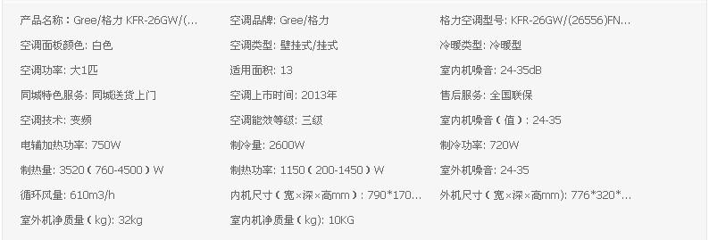 gree/格力 kfr-26gw/(.